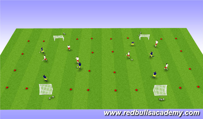 Football/Soccer Session Plan Drill (Colour): Conditioned Game: 3v3