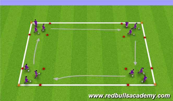 Football/Soccer Session Plan Drill (Colour): Round the house - warm up