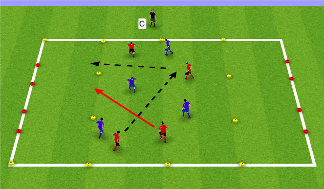 Football/Soccer Session Plan Drill (Colour): Small Sided 4 v 4 or 5 v 5