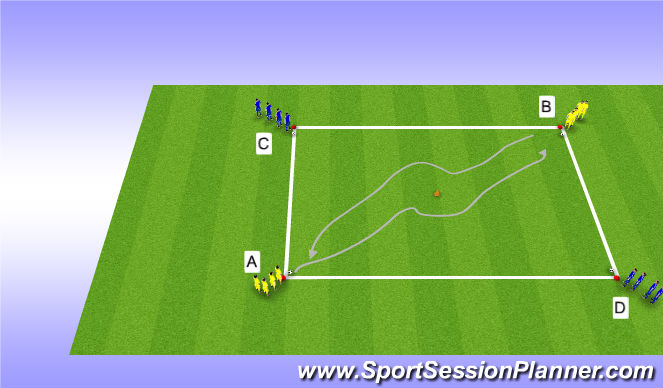 Football/Soccer Session Plan Drill (Colour): Drill - Varied Dribbling (5mins)