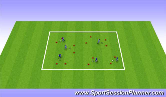 Football/Soccer Session Plan Drill (Colour): Warm-up and dynamic stretching