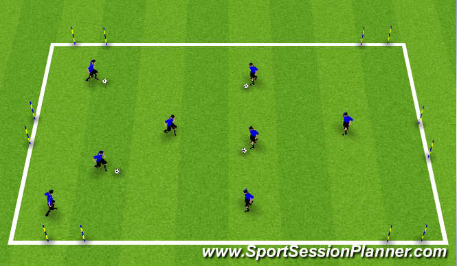 Football/Soccer Session Plan Drill (Colour): Receiving to Dribble