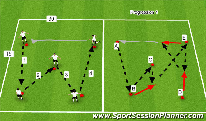 Football/Soccer Session Plan Drill (Colour): W Passing