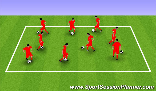 Football/Soccer Session Plan Drill (Colour): Coerver Ball Based Warm up