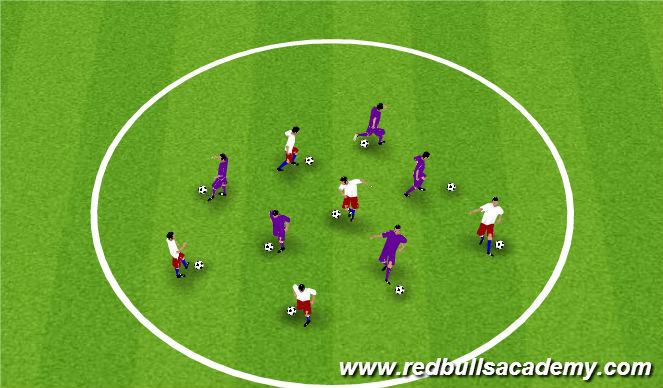 Football/Soccer Session Plan Drill (Colour): Skill Circle - Warm up