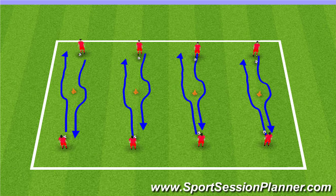 Football/Soccer Session Plan Drill (Colour): Technical 1 v 1 Practice
