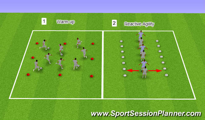 Football/Soccer Session Plan Drill (Colour): U13s / U14s, Week 17, Session 2, Reactive Agility