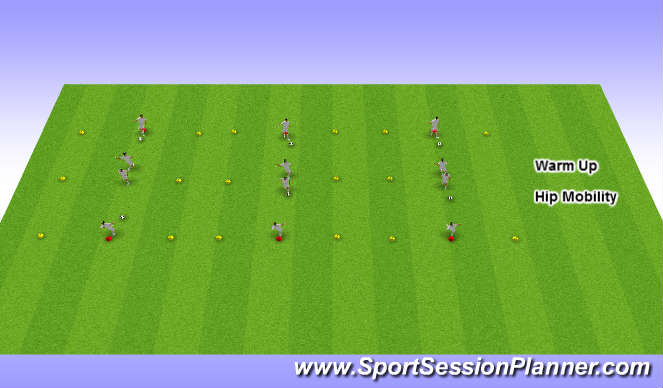 Football/Soccer Session Plan Drill (Colour): Warm up/Hip mobility