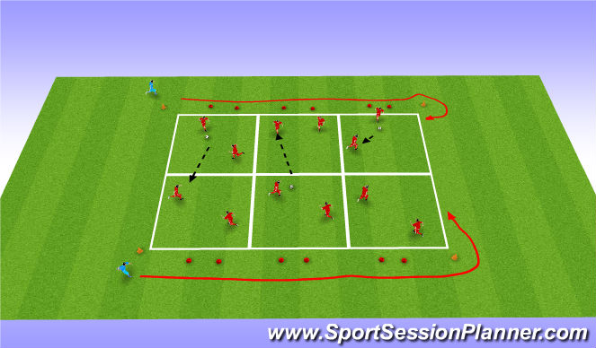 Football/Soccer Session Plan Drill (Colour): Decisions under pressure