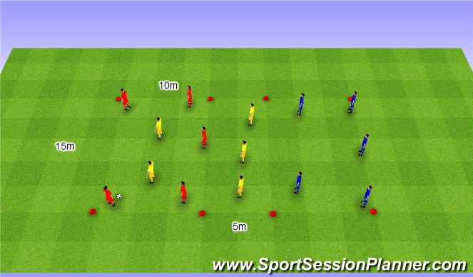 Football/Soccer Session Plan Drill (Colour): Rondo 5v5v5. Dziadek 5v5v5