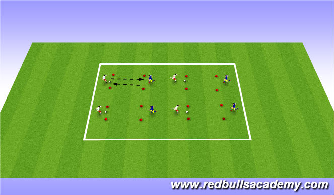 Football/Soccer Session Plan Drill (Colour): Semi opposed warm up