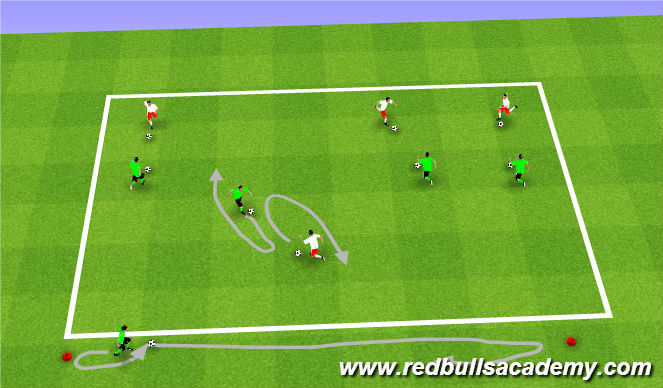 Football/Soccer Session Plan Drill (Colour): Knockout (Semi Opposed)