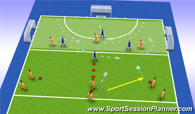 Hockey Session Plan Drill (Colour): back four: who steps out to press?