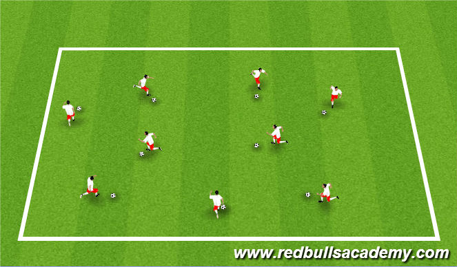 Football/Soccer Session Plan Drill (Colour): First to 50 (Warm up)