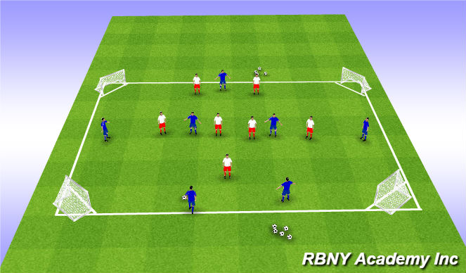 Football/Soccer Session Plan Drill (Colour): Multi Goal Game - 4 goals - Wedges