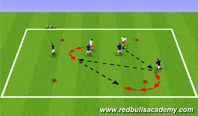 Football/Soccer Session Plan Drill (Colour): 2v2 +2 outside 615