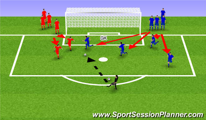 Football/Soccer Session Plan Drill (Colour): 4 v 2 in box