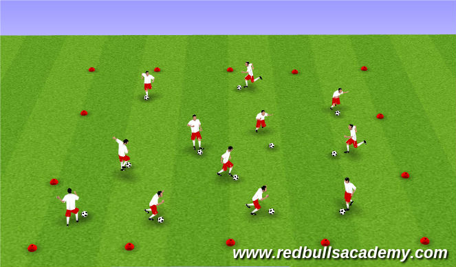 Football/Soccer Session Plan Drill (Colour): Warm-Up: Dribbling Foundation