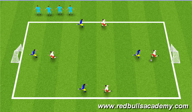 Football/Soccer Session Plan Drill (Colour): 4v4 Free Play