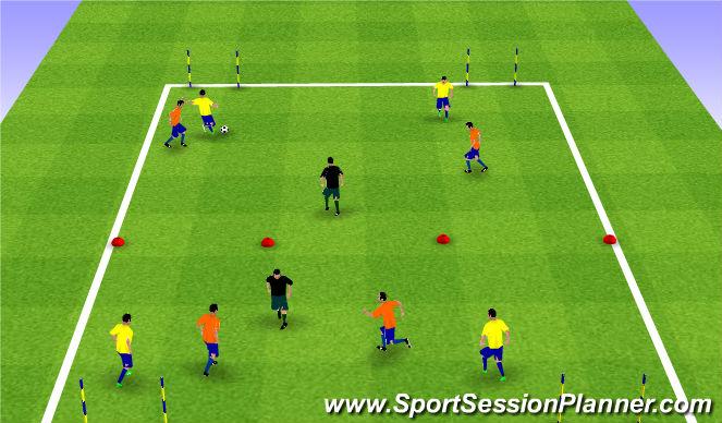 Football/Soccer Session Plan Drill (Colour): Expanded Sm Sided 2 vs. 2 + 1 vs. 2 vs. 2 + 1