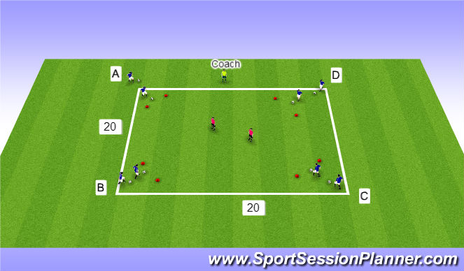 Football/Soccer Session Plan Drill (Colour): attacking 1v2