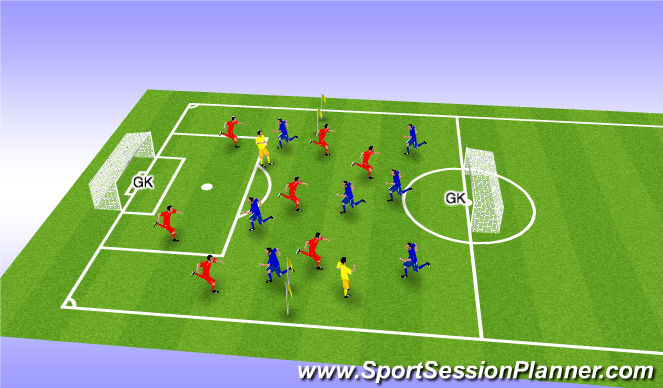 Football/Soccer Session Plan Drill (Colour): 8 v 8 + 2 N