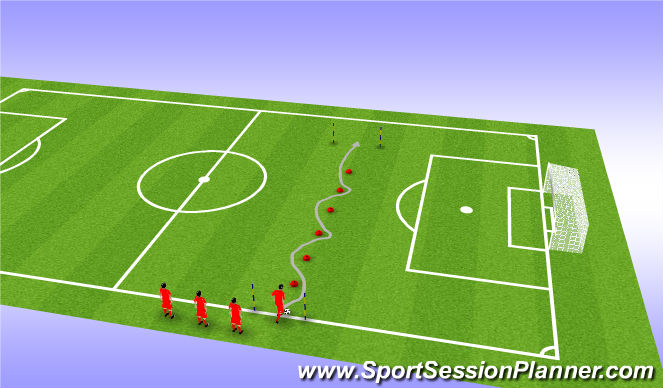 Football/Soccer Session Plan Drill (Colour): Dribble Test (Right & Left)