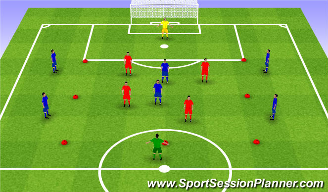 Football/Soccer Session Plan Drill (Colour): Rondo 8v4v2. Dziadek 8v4v2.