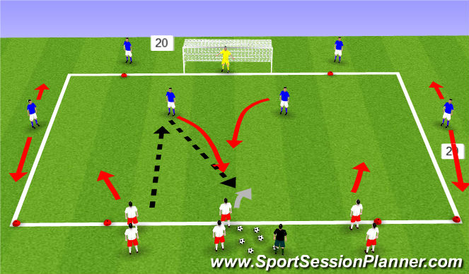 Football/Soccer Session Plan Drill (Colour): 3 v 2 + 2