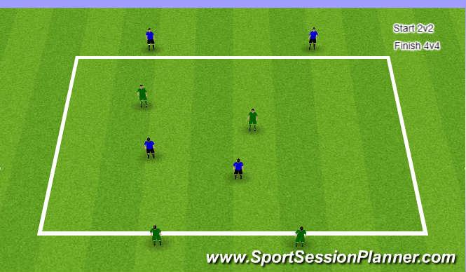 Football/Soccer Session Plan Drill (Colour): 2v2 Pressure, Cover
