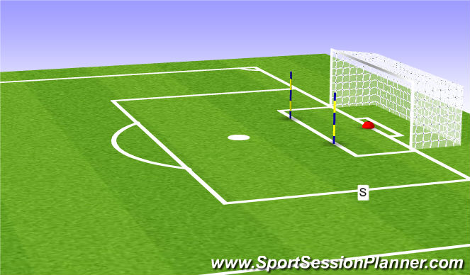 Football/Soccer Session Plan Drill (Colour): Shooting at the Near Post.