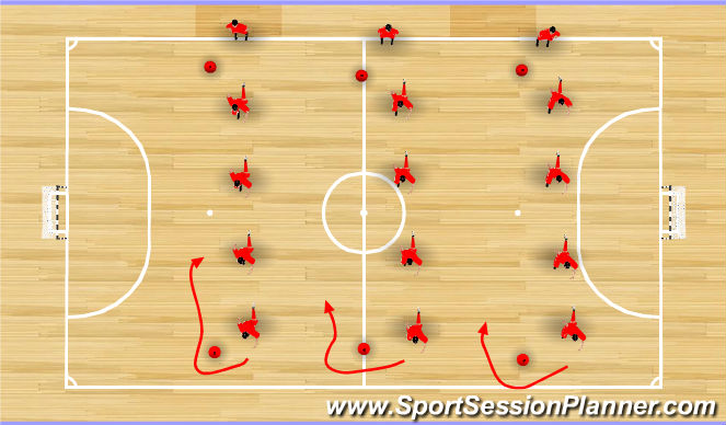Futsal Session Plan Drill (Colour): Dynamic Warm-Up