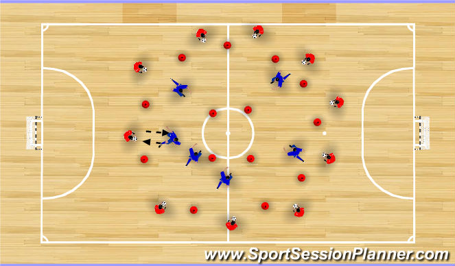 Futsal Session Plan Drill (Colour): Technique on Demand