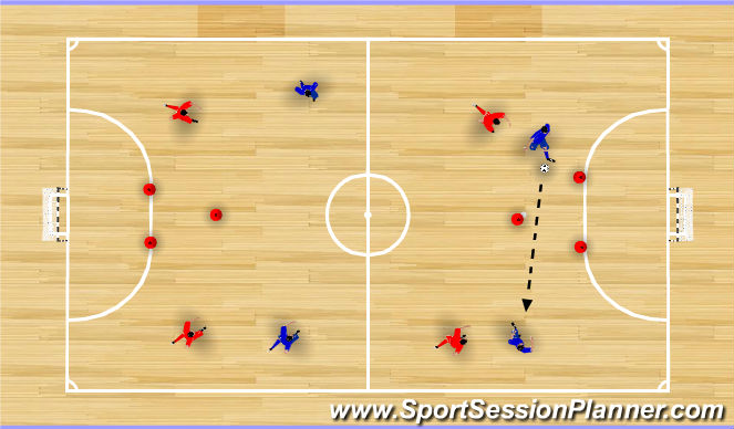 Futsal Session Plan Drill (Colour): Possession Game: Score on Triangles