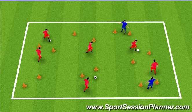 Football/Soccer Session Plan Drill (Colour): Through the Gates (2)