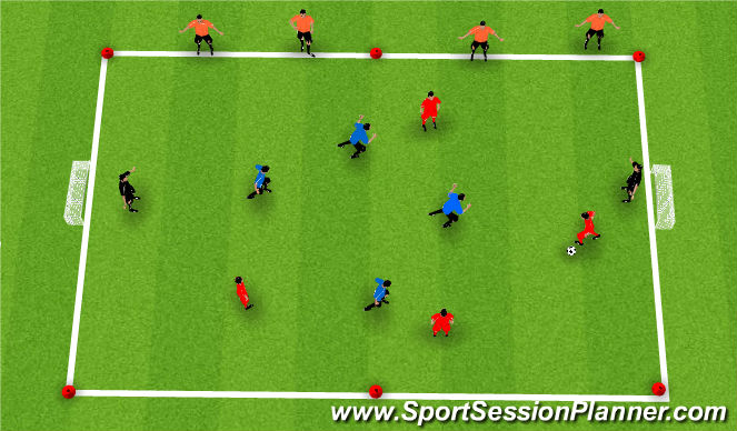 Football/Soccer Session Plan Drill (Colour): Dribbling in Possession