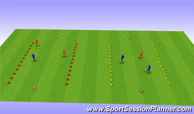 Football/Soccer Session Plan Drill (Colour): 2v1 mini matches