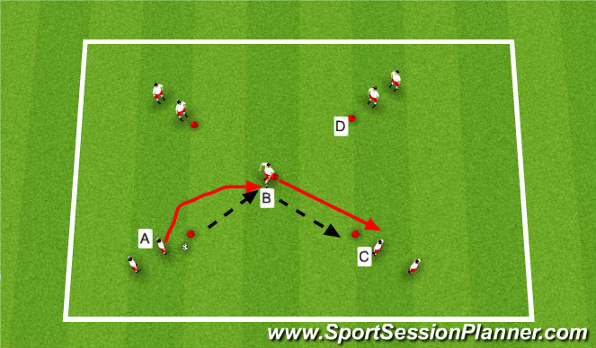 Football/Soccer Session Plan Drill (Colour): Passing, receiving into space