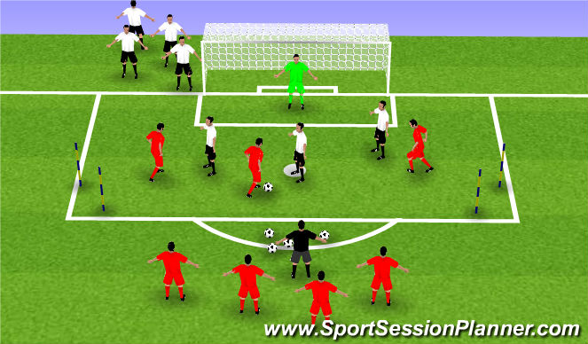 Football/Soccer Session Plan Drill (Colour): 3v3 inside box