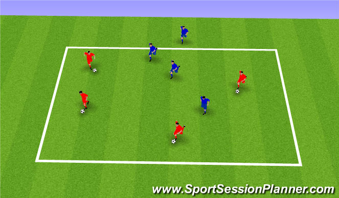 Football/Soccer Session Plan Drill (Colour): Dribbling keep ball