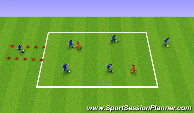 Football/Soccer Session Plan Drill (Colour): Competitive dribbling
