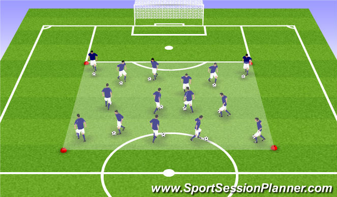Football/Soccer Session Plan Drill (Colour): Dribble/Move Box