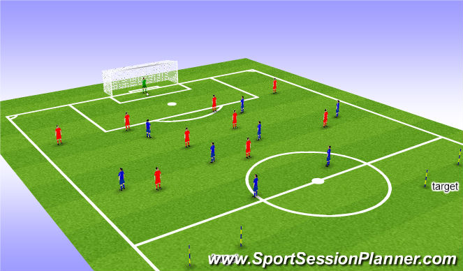 Football/Soccer Session Plan Drill (Colour): POP. PLAYING OUT FROM THE BACK