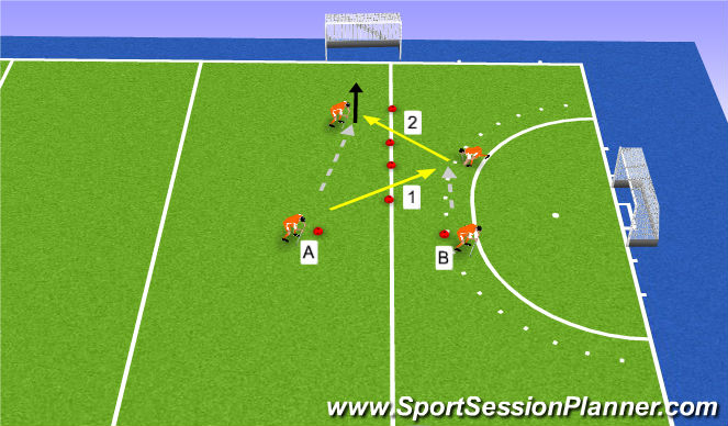 Hockey Session Plan Drill (Colour): combineren/passing