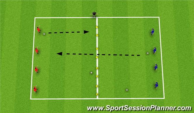 Football/Soccer Session Plan Drill (Colour): Technical (15 Mins)