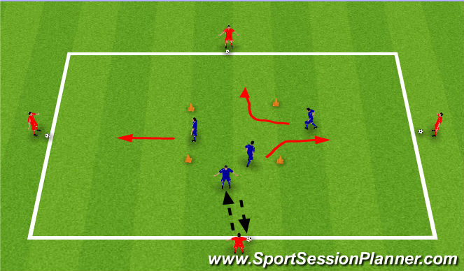 Football/Soccer Session Plan Drill (Colour): Passing on the move (15 Mins)