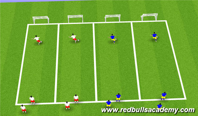 Football/Soccer Session Plan Drill (Colour): Dribbling relays