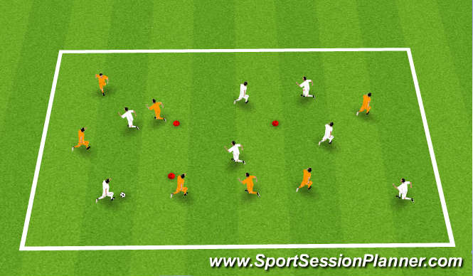 Football/Soccer Session Plan Drill (Colour): Keep Ball 7 v 7 box