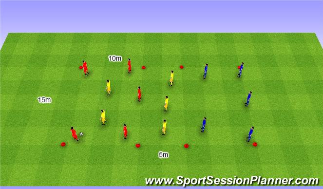 Football/Soccer Session Plan Drill (Colour): Rondo 5v5v5. Dziadek 5v5v5