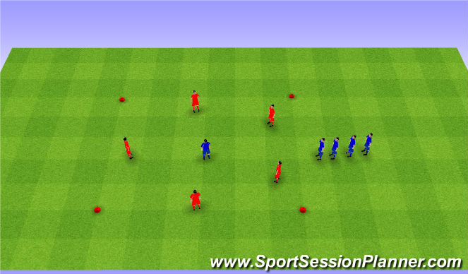 Football/Soccer Session Plan Drill (Colour): 5v1, 2, 3, 4, 5.